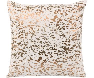 TOV Furniture Leather Speckled Gold Pillow