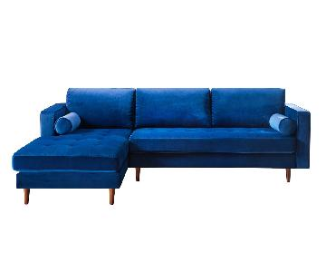 TOV Furniture Como Navy Velvet LAF Sectional Sofa