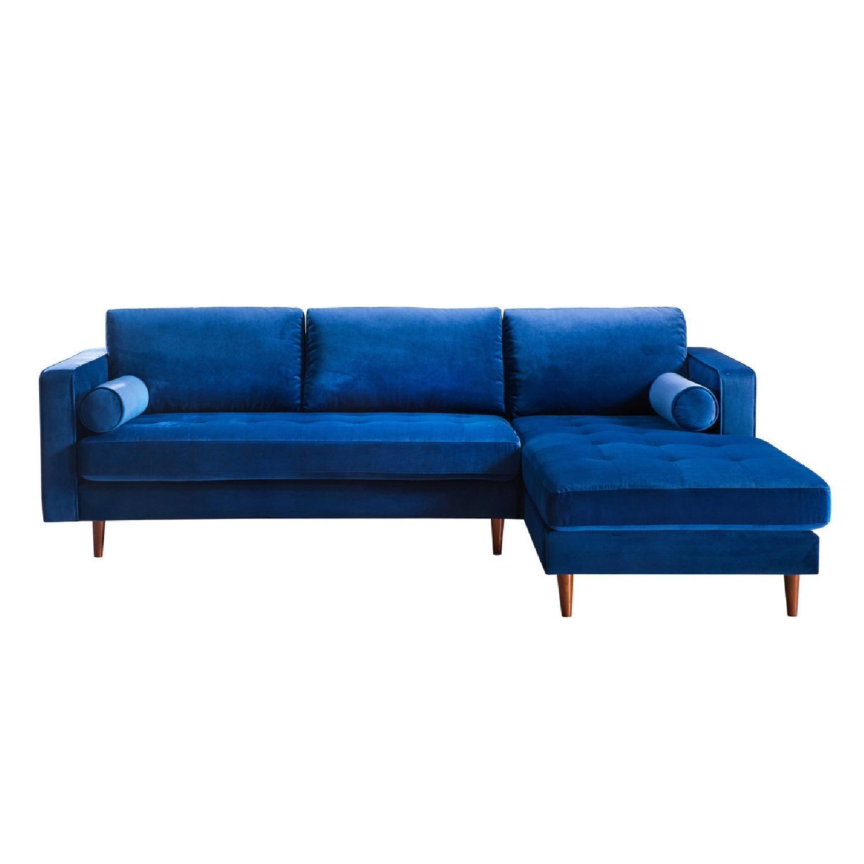 TOV Furniture Como Navy Velvet RAF Sectional Sofa - AptDeco