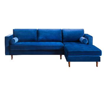 TOV Furniture Como Navy Velvet RAF Sectional Sofa