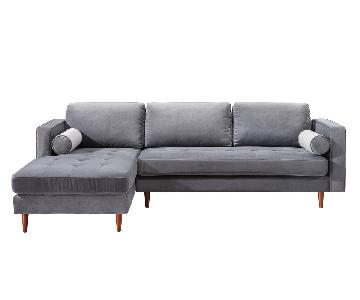 TOV Furniture Como Grey Velvet LAF Sectional Sofa