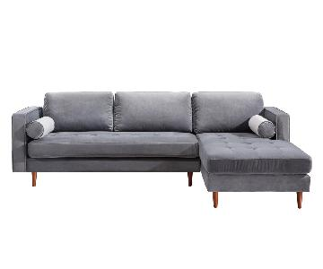 TOV Furniture Como Grey Velvet RAF Sectional Sofa