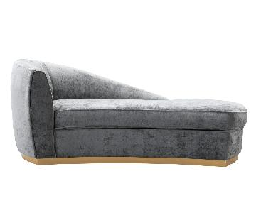 TOV Furniture Adele Grey Slub Velvet Chaise