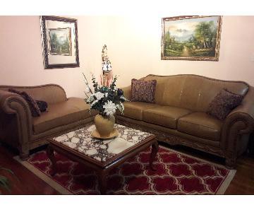 Ashley Beige Leather 3 Seater Sofa