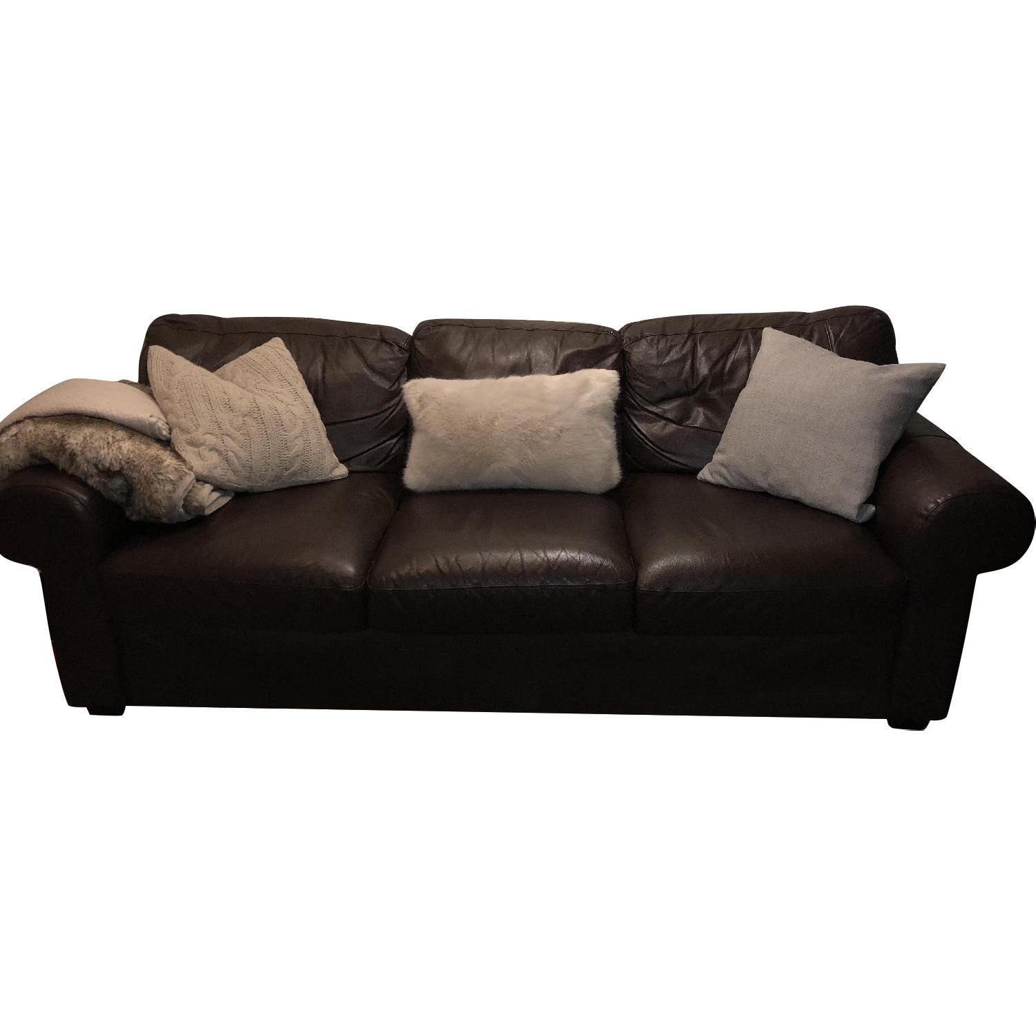 Jennifer Convertibles Brown Leather Sofa ...