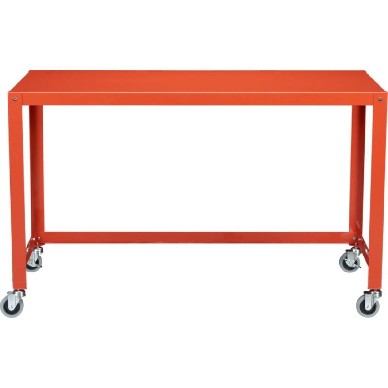 CB GoCart Orange Rolling Console Table AptDeco - Cb2 sofa table