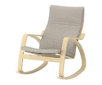 Ikea Poang Birch Veneer Rocking Chair in Knisa Light Beige