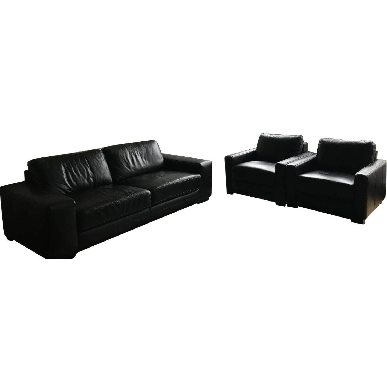 Maurice Villency Black Leather Sofa + 2 Armchairs ...