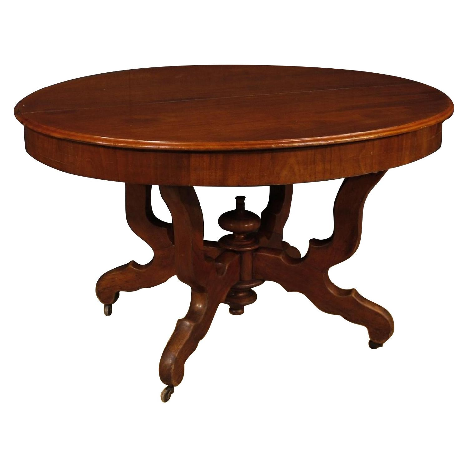 Extendable Dutch Dining Table in Carved Mahogany Wood
