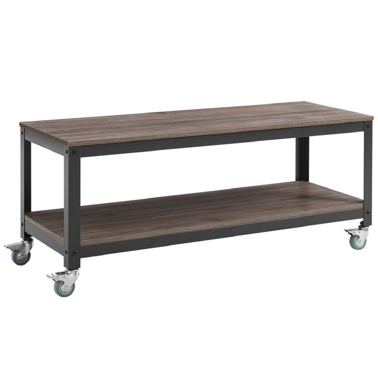Modern Industrial Serving/TV Stand In Gray Walnut