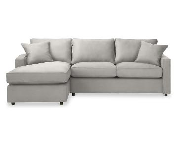 Room & Board York Grey Sectional Sofa w/ Left-Arm Chaise