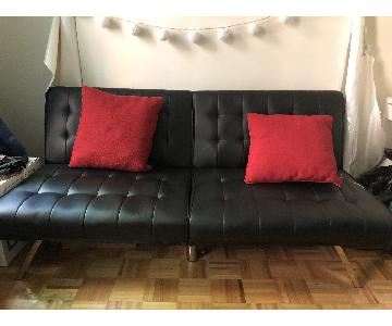DHP Emily Black Faux Leather Convertible Futon
