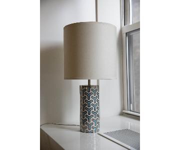 Jonathan Adler Porcelain Blue & Silver Geometric Lamp