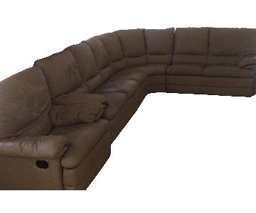 Raymour & Flanigan Beige Faux Leather Sectional Sofa