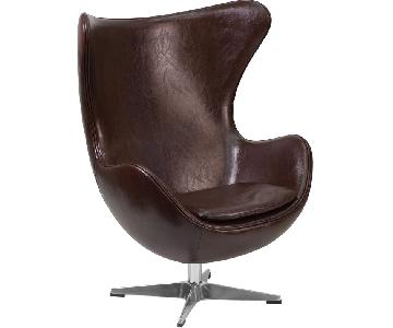 Brown Leather Egg Style Chair w/ Tilt-Lock Mechanism