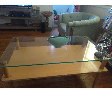 Heywood Wakefield Glass & Blonde Wood Coffee Table