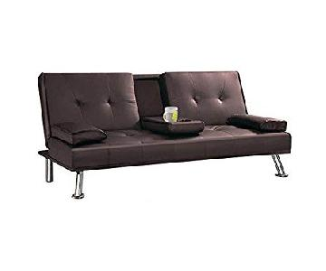 FUTON/SOFA BED WITH DROP DOWN BEVERAGE HOLDER