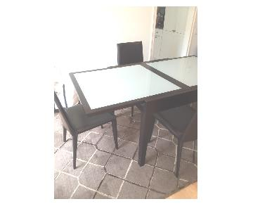 Henredon Dark Wood & Glass Modern Extendable Dining Table