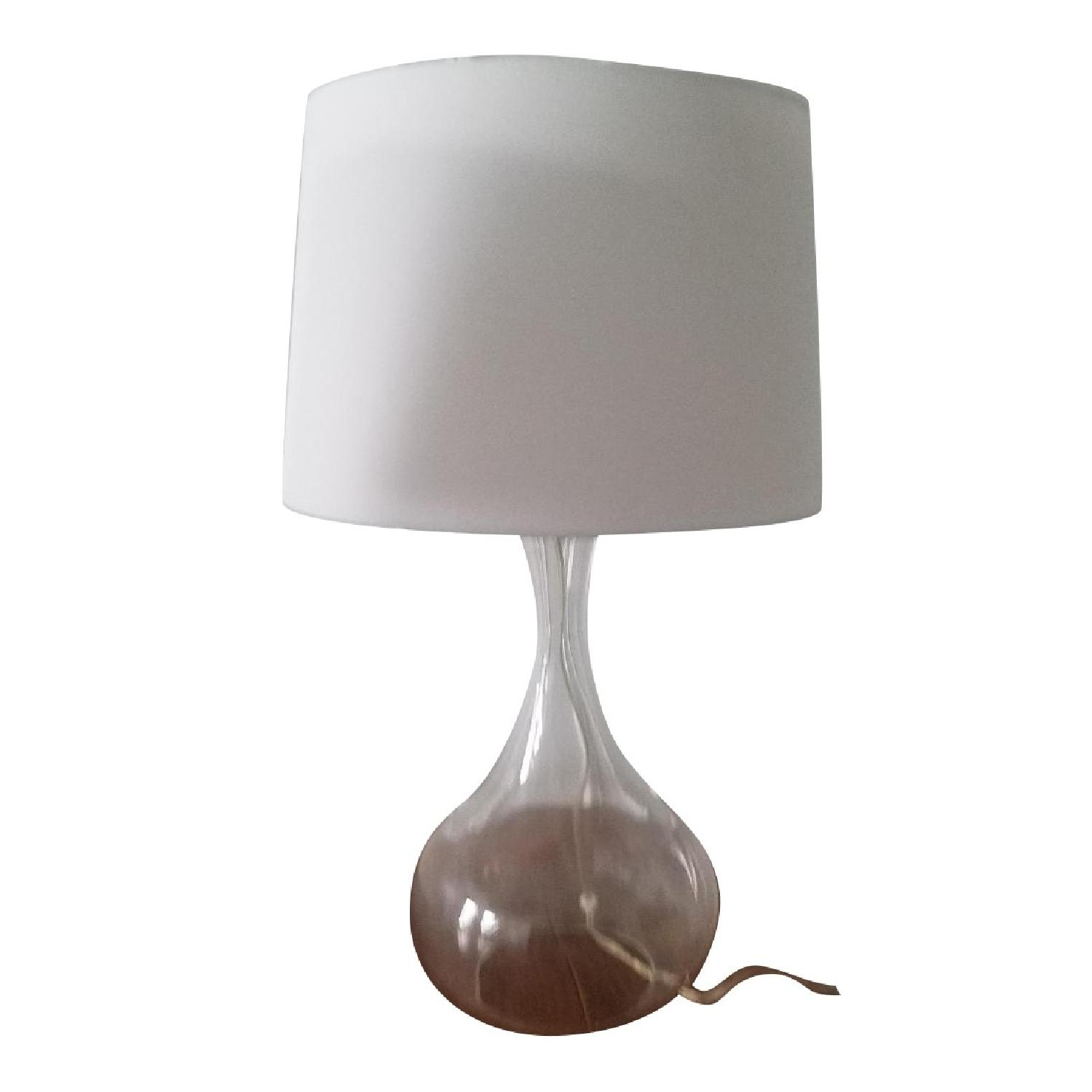 Pottery barn glass base table lamps w white shades aptdeco pottery barn glass base table lamps w white shades aloadofball Gallery