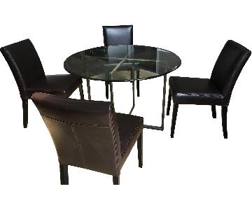 Crate & Barrel Round Glass Dining Table w/ 4 Chairs