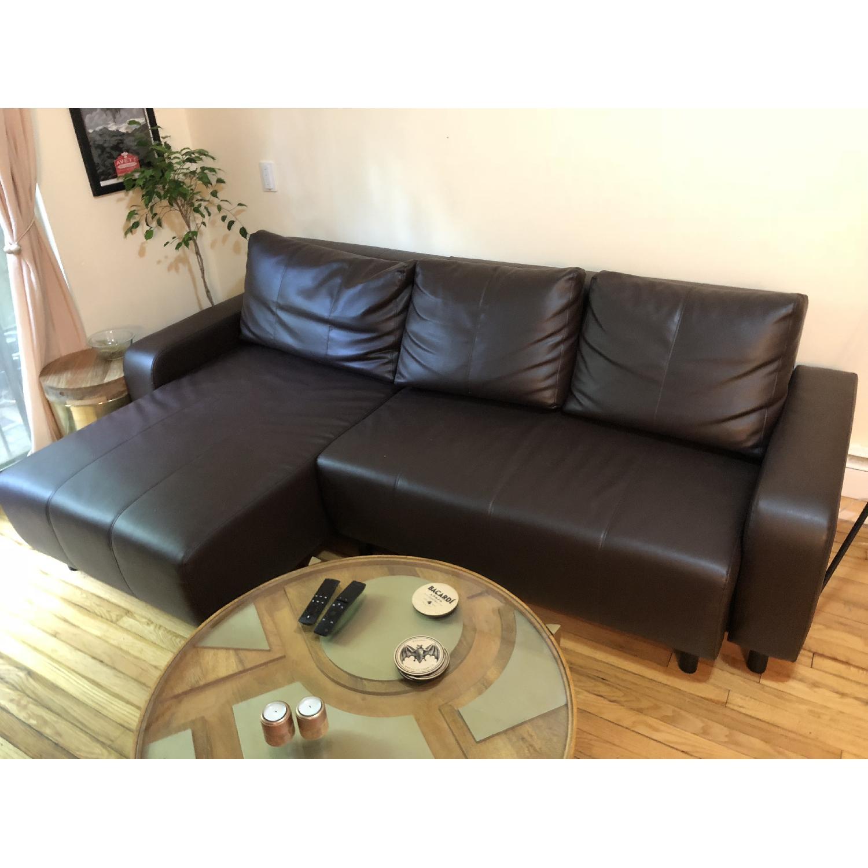 Ikea Djursbo Leather Sleeper Sectional Sofa Aptdeco