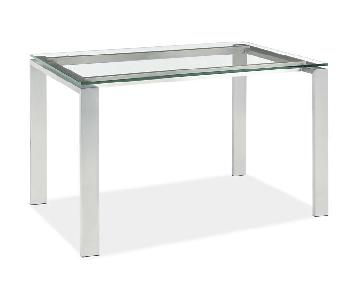 Room & Board Glass Dining Table w/ Steel Frame in White