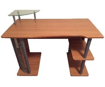 Z-Line Computer Desk w/ Wooden & Glass Shelves