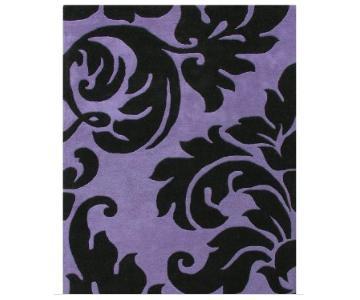 Horizon Home Handmade Tufted Rug in Purple Swirl