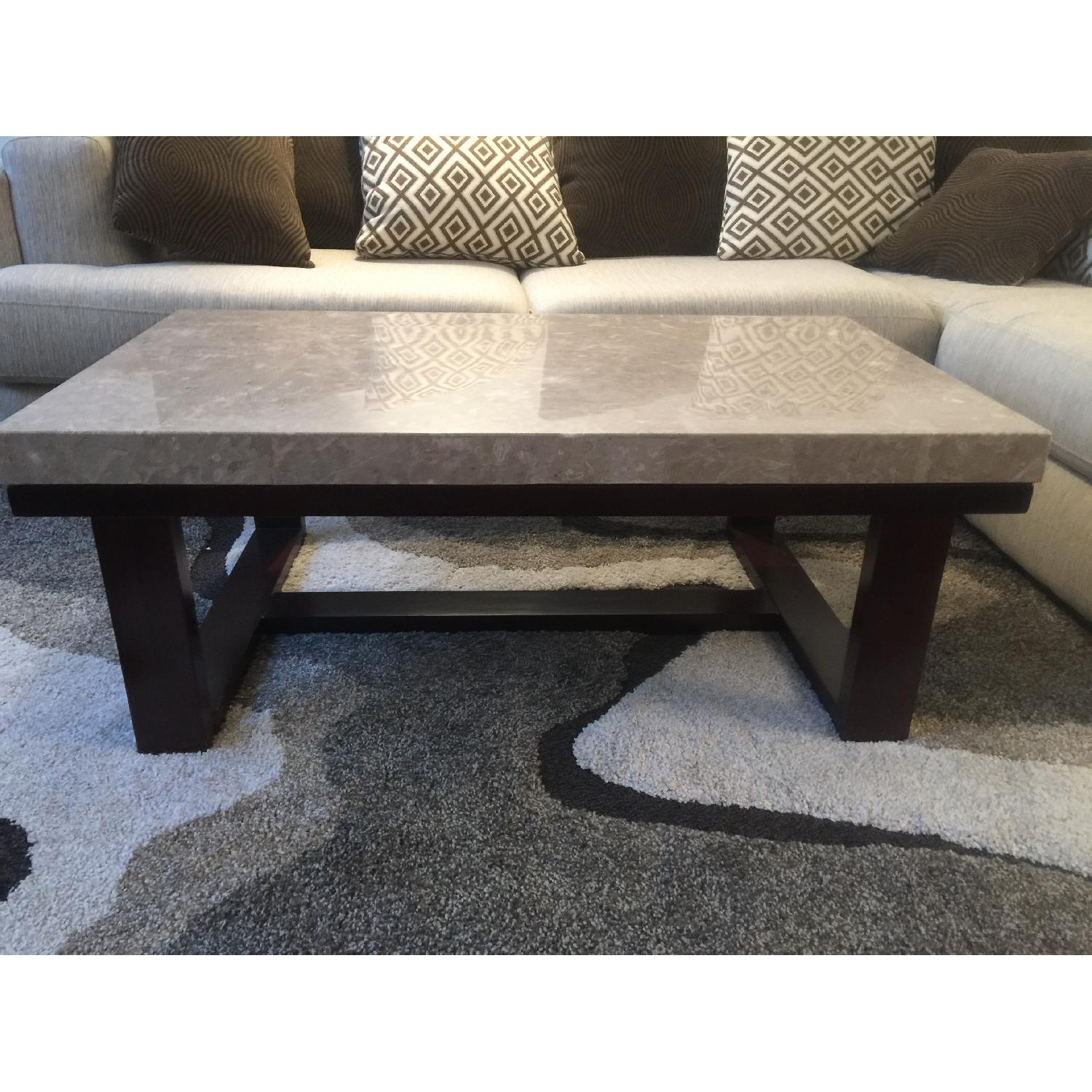 - Rooms To Go Marble Coffee Table + Matching End Table - AptDeco