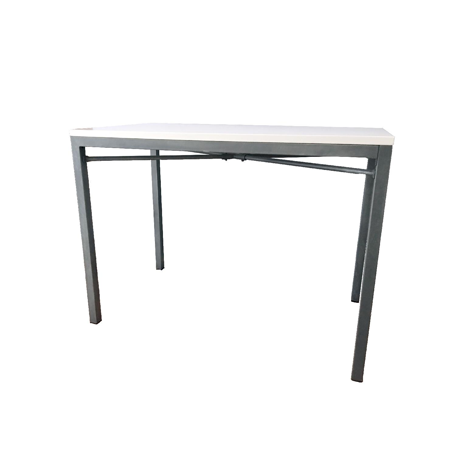 Crate U0026 Barrel Parsons White Top/Zinc Base High Dining Table ...