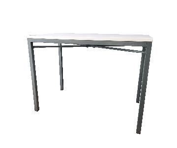 Crate & Barrel Parsons White Top/Zinc Base High Dining Table
