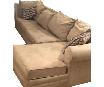 Raymour & Flanigan Beige 3 Piece Sectional Sofa