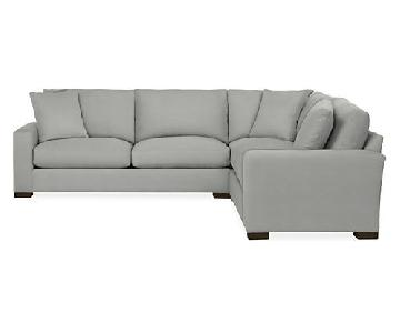 Room & Board Grey Microsuede 2-Piece Sectional Sofa