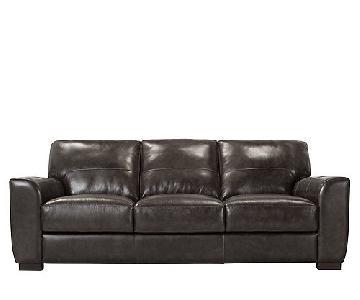 Raymour & Flanigan Ryden Leather Sofa + Chair & Ottoman
