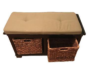 Crate & Barrel Wooden Entryway Storage Bench w/ Cushion