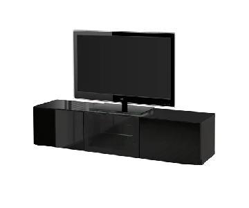 Ikea Besta TV Unit w/ Doors in High Gloss Black