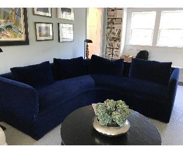 Custom-Made Dark Blue Velvet Curved Sofa