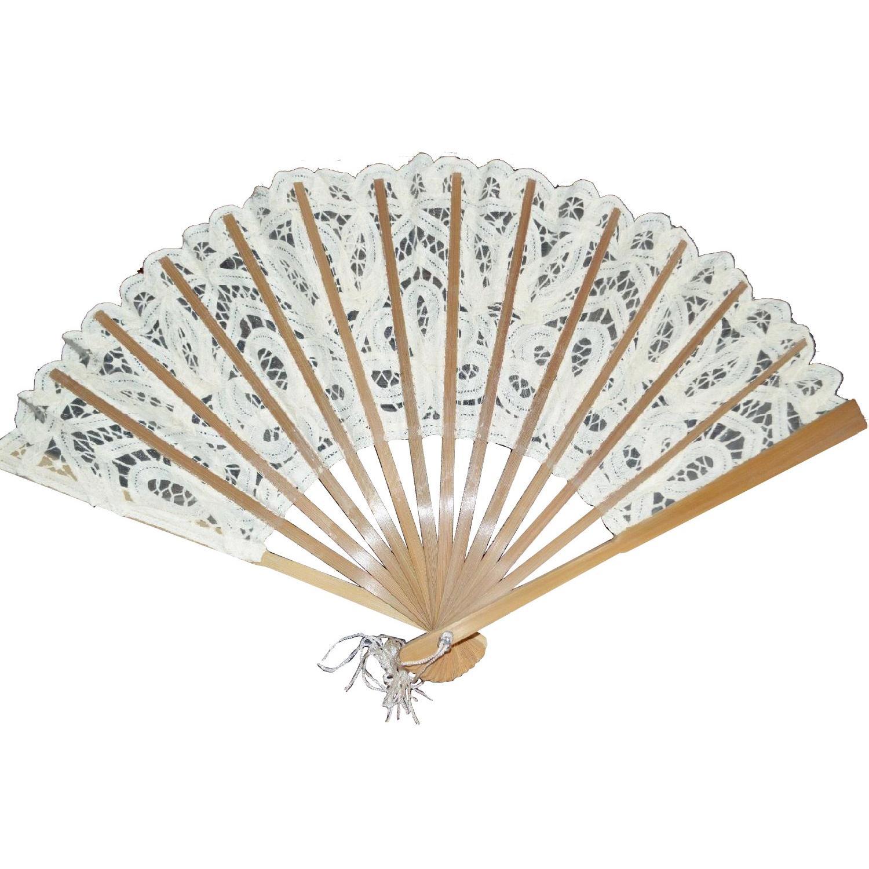 Brussels White Lace Folding Hand Fan