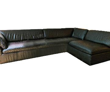 Natuzzi Chocolate Brown Leather Sectional Sofa & Ottoman