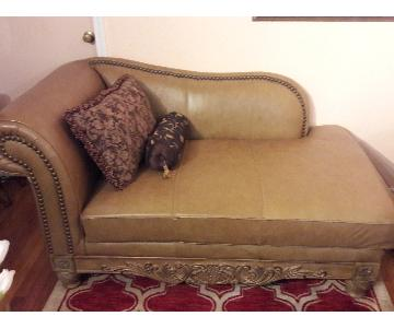 Ashley Beige Leather Chaise Lounge