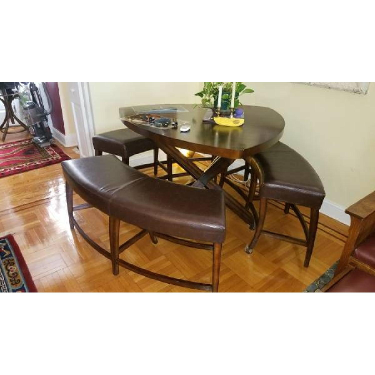 Triangle Dining Table w/ 3 Benches - image-1