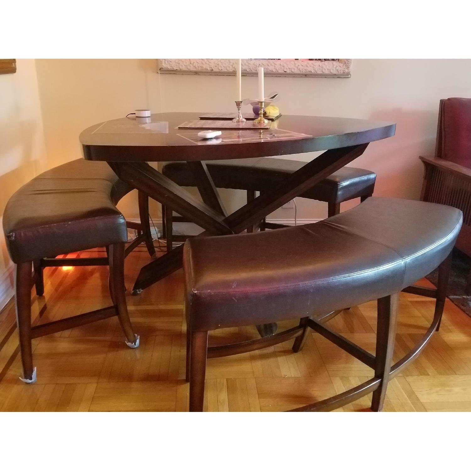 Triangle Dining Table w/ 3 Benches - image-2