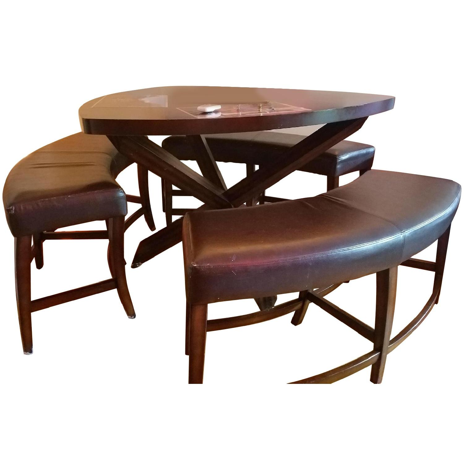 Triangle Dining Table w/ 3 Benches - image-0