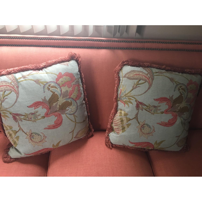Taylor King Edtim Coral Sofa w/ Natural Brass Nailheads - image-2