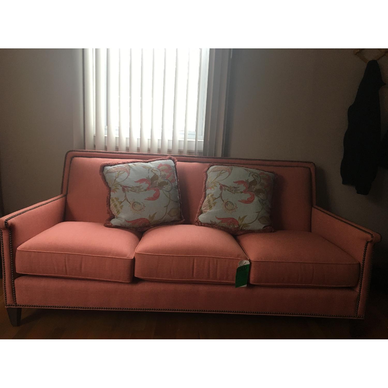 Taylor King Edtim Coral Sofa w/ Natural Brass Nailheads - image-3