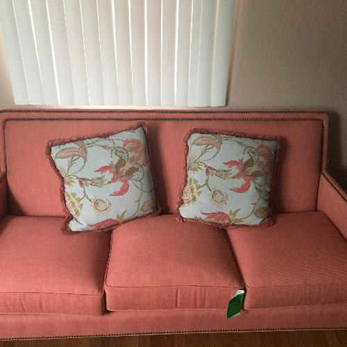 Used Taylor King Edtim Coral Sofa w/ Natural Brass Nailheads for sale on AptDeco