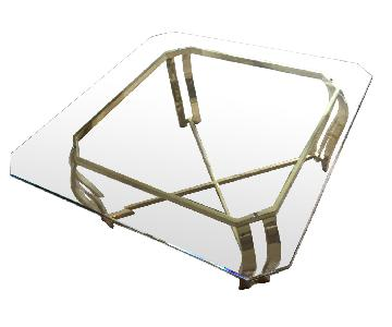 Bevelled Edge Glass & Brass Coffee Table