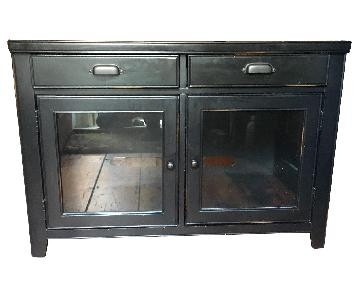 Glass Door Media Cabinet w/ 2 Drawers