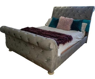 Ashley Velvet Upholstered Queen Bed w/ Rhinestone Accents
