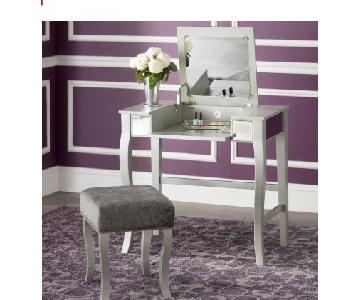 Willa Arlo Strattenborough Vanity Table w/ Mirror & Stool